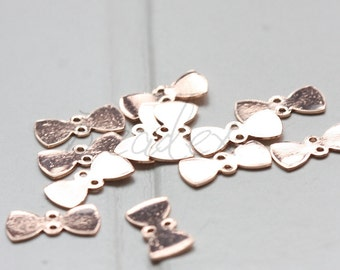 2 Pieces / Rose Gold Plated / Real Rose Gold / Brass Base / Bow / Charm (C2021//J673)