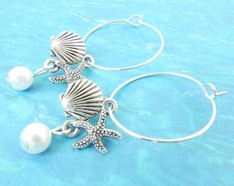 Shell Hoop Earrings, Starfish Earrings, Pearl Earrings, Beach Jewelry, Dangle Earrings, Loop Earrings, Starfish Hoop Earrings, Gift for Her