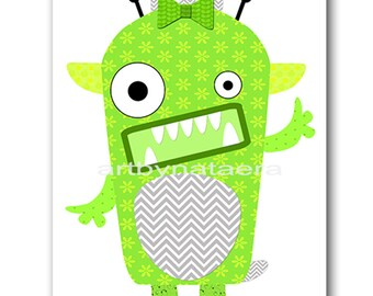 Monster Nursery Art for Children Printable Digital Print Baby Girl Nursery Print Digital Download Print 8x10 11X14 INSTANT DOWNLOAD green