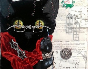 Times Square Traveller Kitteh Steampunk Assemblage