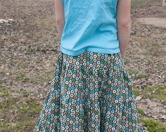 Girls Long Modest Brown and Turquoise Flowered Corduory Peasant Skirt Size 6/8