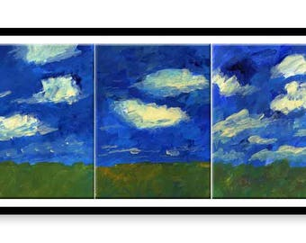 Summer landscape Triptych  // Original one of a kind art work // Abstract acrylic Painting // Wall Art // Office Art // Corporate Art