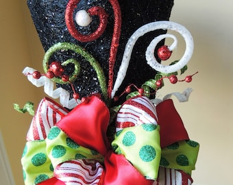 Frosty Lighted Black Top Hat Christmas Tree Topper Centerpiece Tree Topper Bow Christmas Decoration RAZ Decor