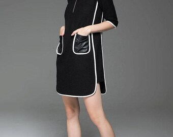 chanel dress, womens dresses, wool dress, mini dress, vintage dress, vintage dresses for women, black wool dress, winter dress, dress  C778