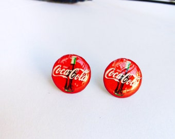 Coca cola studs / Coke earrings / Coke jewellery / Coke studs / Coke gift idea / Coca cola jewelry / Gift for her