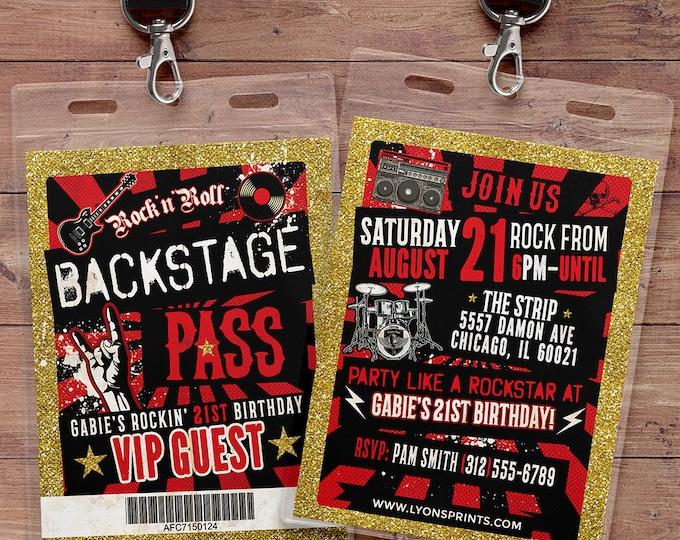 Punk Rock, VIP PASS, backstage pass, Vip invitation, birthday, pop star, rock star birthday, roller-skate party VIP, 80's,