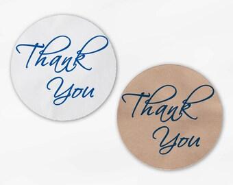 Thank You Script Wedding Favor Stickers in Blue - Custom White Or Kraft Round Labels for Bag Seals, Envelopes, Mason Jars (2025)