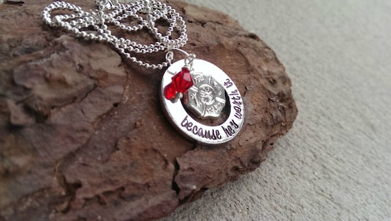 pin fireman wife jewelry firefighter girlfriend necklace
