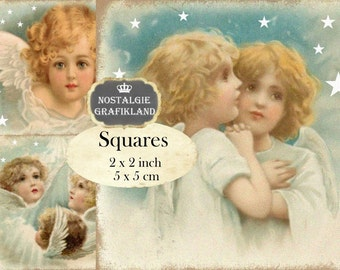 Vintage Angels Christmas 2x2 inch squares Instant Download digital collage sheet TW172 Guardian Angels