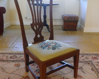 An Antique Edwardian Mahogany Salon Chair with hand embroidered tapestry  seat
