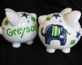 piggy bank hand painted personalized jumbo the elephant