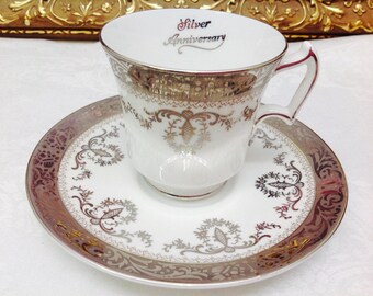 Royal Chelsea 25th Anniversary teacup and saucer