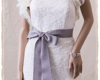 "2"" Deluxe Petersham Grosgrain Bridal Sash, Gray Wedding Sash Belt, Grey Grosgrain Ribbon Bridal Belt Wedding Sash Grosgrain Bridal Sash"