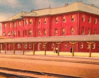ON SALE Rocky Mount North Carolina NC Atlantic Coast Line Depot Railroad Railway Train 1930's Vintage Old Antique Postcard