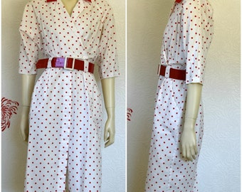 Vintage Shirt Dress | White Dress | Polka Dot Dress | Cotton Dress | Dolman Sleeve | Wiggle Dress | Red Polka Dots | Short Sleeve Dress
