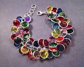 Rainbow Cha Cha Bracelet, Chanel Beaded Charm Bracelet, Silver Chain Bracelet, FREE Shipping U.S.