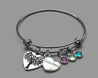 Grandma Charm Bangle, Grandma Charm Bracelet, Grandma Bracelet, Family Tree Bracelet, Family Tree Bangle, Family Tree Charm, Stainless Steel