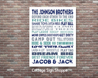 Boys Room Decor, Brothers Sign, Brothers Wall Art, Brothers Room Decor, DIGITAL YOU PRINT, Custom Brothers Art, Personalized Brothers Art