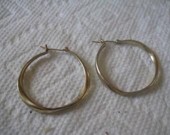 5 Dollar Listing Twisted Hoops Pierced Post Earrings Gold Plated Metal Like Karat Gold