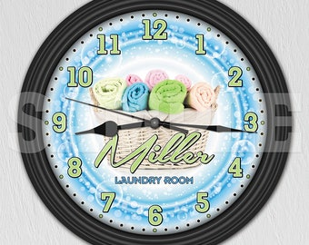 Laundry Room Personalized Wall Clock - Laundry Room Decor - Wash Room ITEM#062