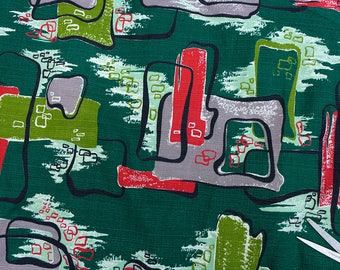 1950s Barkcloth, 50s Fabric, Mid Century Fabric, Green Atomic Fabric, Vintage Caravan Drapery Fabric, Mid Mod Upholstery