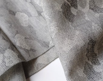 Gray Wool Kimono Fabric unused bolt by the yard Abstract Cloud Pattern with fans and tiny flowers Shades of Gray 95% Wool Blend OFF the bolt