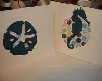 Nautical cards Seahorse cards Starfish cards Sand dollar cards large card set blank note cards notecards stationery beautiful card set gift