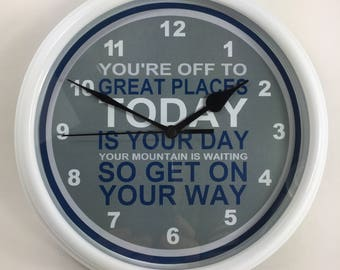 "Dr Seuss QUOTE ""You're Off To Great Places..."" Nursery Wall Clock"