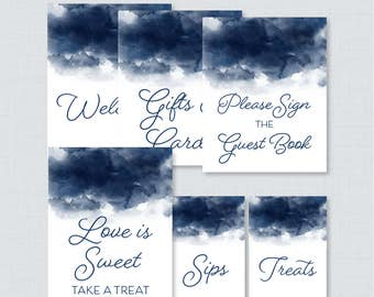 Navy Watercolor Bridal Shower Table Signs - Printable Navy Blue Bridal Shower Decorations, Welcome Sign, Favor Sign, Gifts & Cards 0030-P