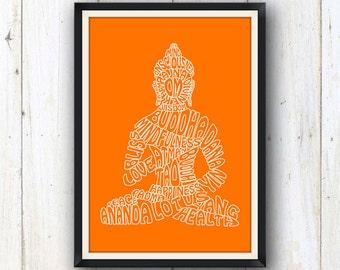 Buddha typography art print in orange/ Yoga and meditation studio decor