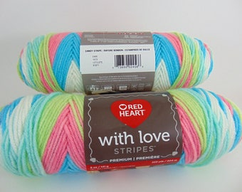 Candy Stripe -  Red Heart  With  Love  Stripes yarn 100 % acrylic worsted weight - 4609