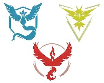3 Pokemon Team Embroidery Design - 4 SIZES