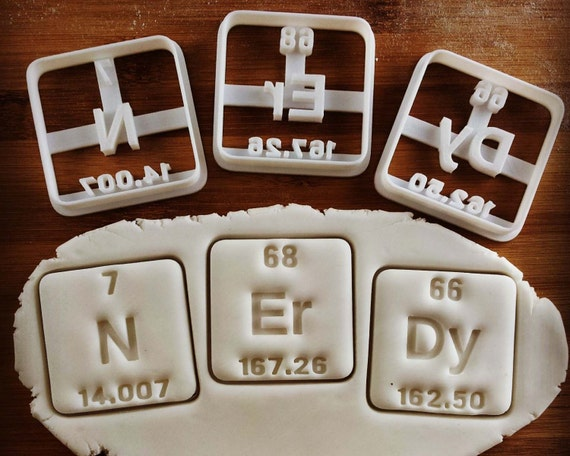 Nerdy and genius cookie cutters periodic table chemical elements nerdy and genius cookie cutters periodic table chemical elements inspired nitrogen erbium dysprosium with atomic number atomic weight from bakerlogy on urtaz Gallery