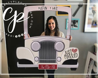 Car photo booth frame | Vintage car photo booth prop | Wedding photo booth | Selfie station | Photo prop | Printed