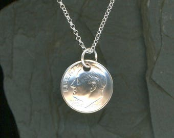 2008 Dime Pendant Sterling Chain Necklace 10th Birthday Gift 10th Anniversary Gift