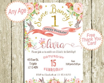 Bunny Birthday Invitations for girls First Birthday Party Invitation Gold pink coral Birthday Invitation DOWNLOAD 2nd 3rd 4th 5th 6th 7th