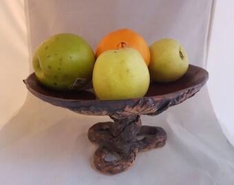 Ceramic carved leaves design round fruit vase or cake platter - hand made unique!