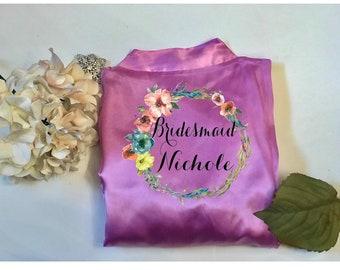 Bridesmaid robes, Bridal Robe, Bride Robe, Bridal Party Robe, Bridesmaid Gifts, Satin Robe, Wedding Robe, Getting Ready Robe, Monogram Robe
