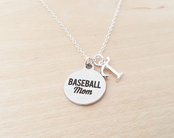 Baseball Mom Charm  - Personalized Necklace - Custom Initial Silver Necklace - Initial Jewelry - Monogram Necklace  Gift for Her