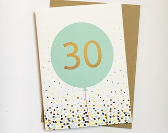 30th Birthday foiled card