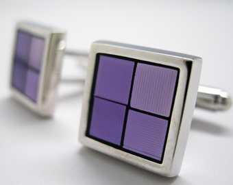Reflections Four Square Framed Shades of Purple Cufflinks Cuff Links