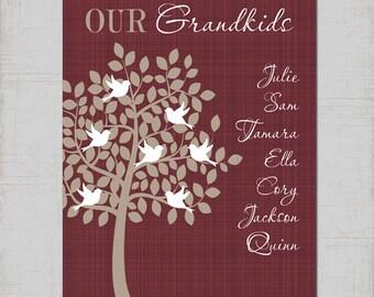 GRANDPARENT Family Tree Wall Art, CANVAS or Prints Grandkids TREE Personalized Kids Children Names, Custom Grandma Gift Grandpa Gift