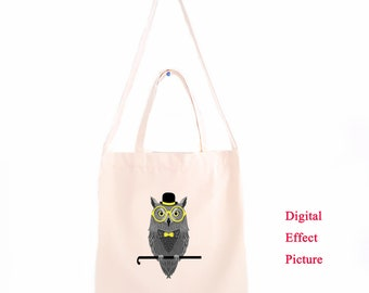 DTG Printing Gentleman Owl Canvas Tote Bag, Canvas Shoulder Bag   DT38-38