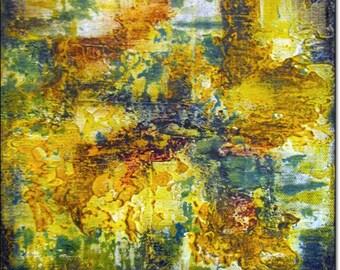 Acrylic Painting Canvas Art Abstract CONTEMPORARY WALL ART Original Landscape Yellow Orange Green Blue Home Decor 8x8x1,5 20cmx20cmx3,6cm