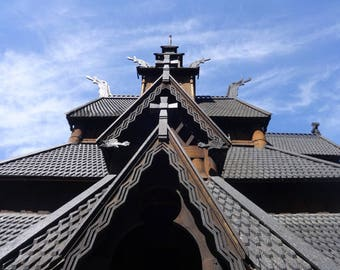 Stave Church, Oslo, Norway, Color Photo, Travel Decor, Scenic Photography, Wall Art