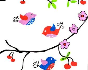 bird painting bird Decor bird Wall Art bird Feathers bird artwork Fine Art Painting bird Art Print bird Decor Blue pink Feather Wall birds