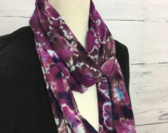 Purple Burst Tie Dye Circular Infinity Scarf in Light Jersey Cotton