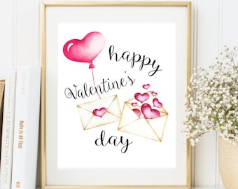 Happy Valentine's Day Print Valentine Printable gift Watercolor Hearts Print Valentine Day printable Love decor print Valentine's Day Decor