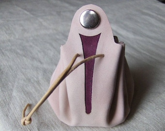 Coin purse is pink leather - purple handmade