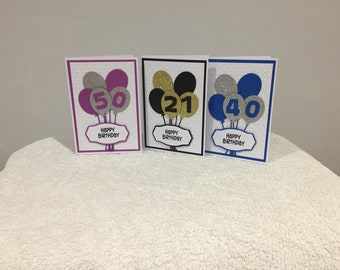Handmade Birthday Aged Cards ( your choice of colour and age orders taken )